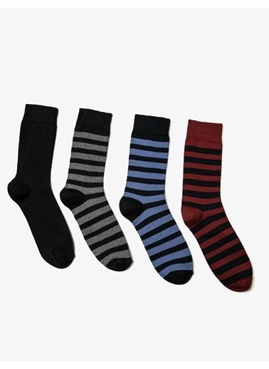 Koton Erkek 4'lü Çizgili Çorap Seti Bordo
